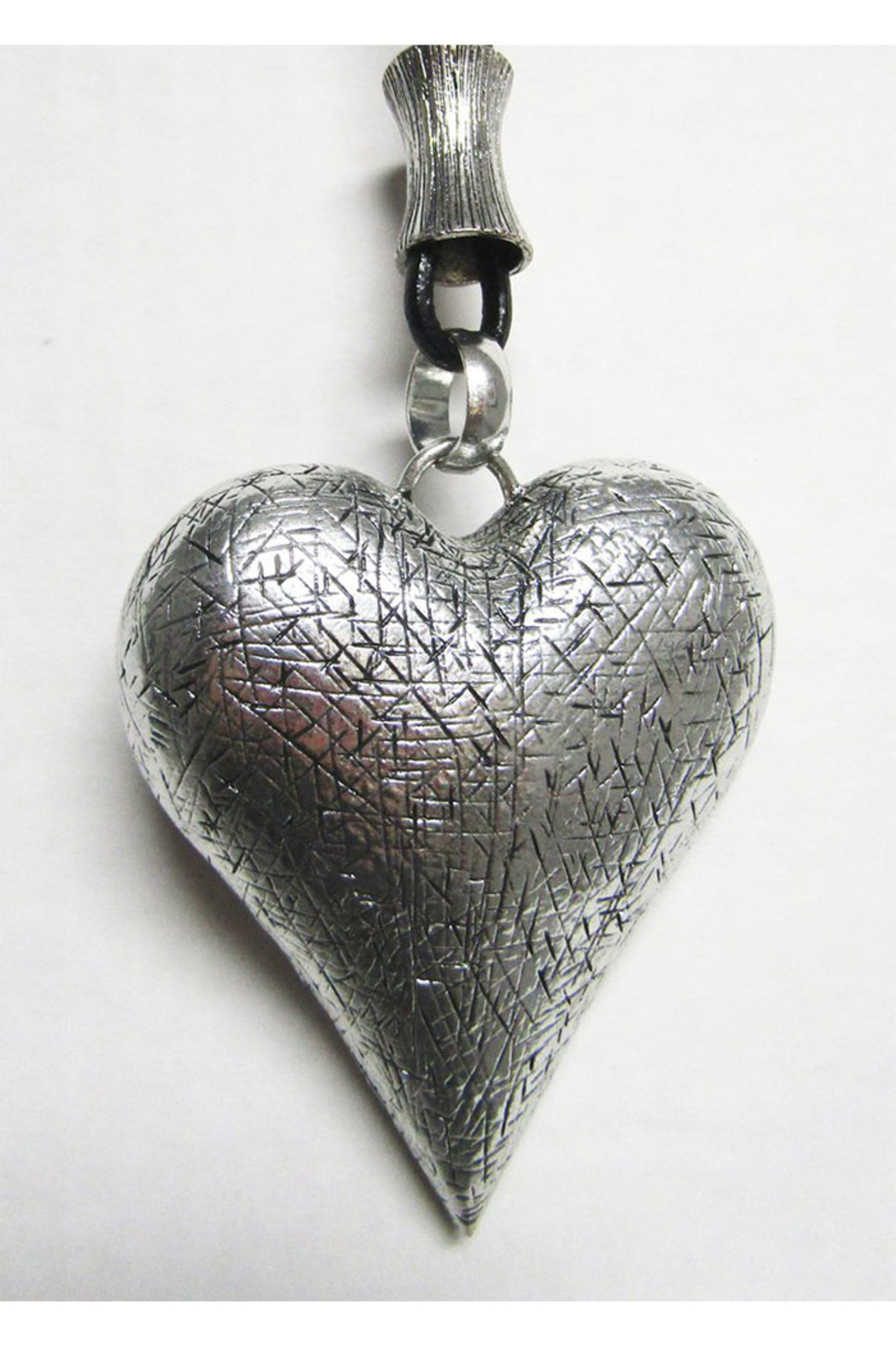 AUG Long Black Cord With Silver Metal Pendant - Hollow Puffed Heart - Main Image