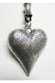 AUG Long Black Cord With Silver Metal Pendant - Hollow Puffed Heart - Front cropped