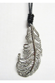 AUG Long Black Cord With Silver Metal Pendant - Leaf - Product Mini Image