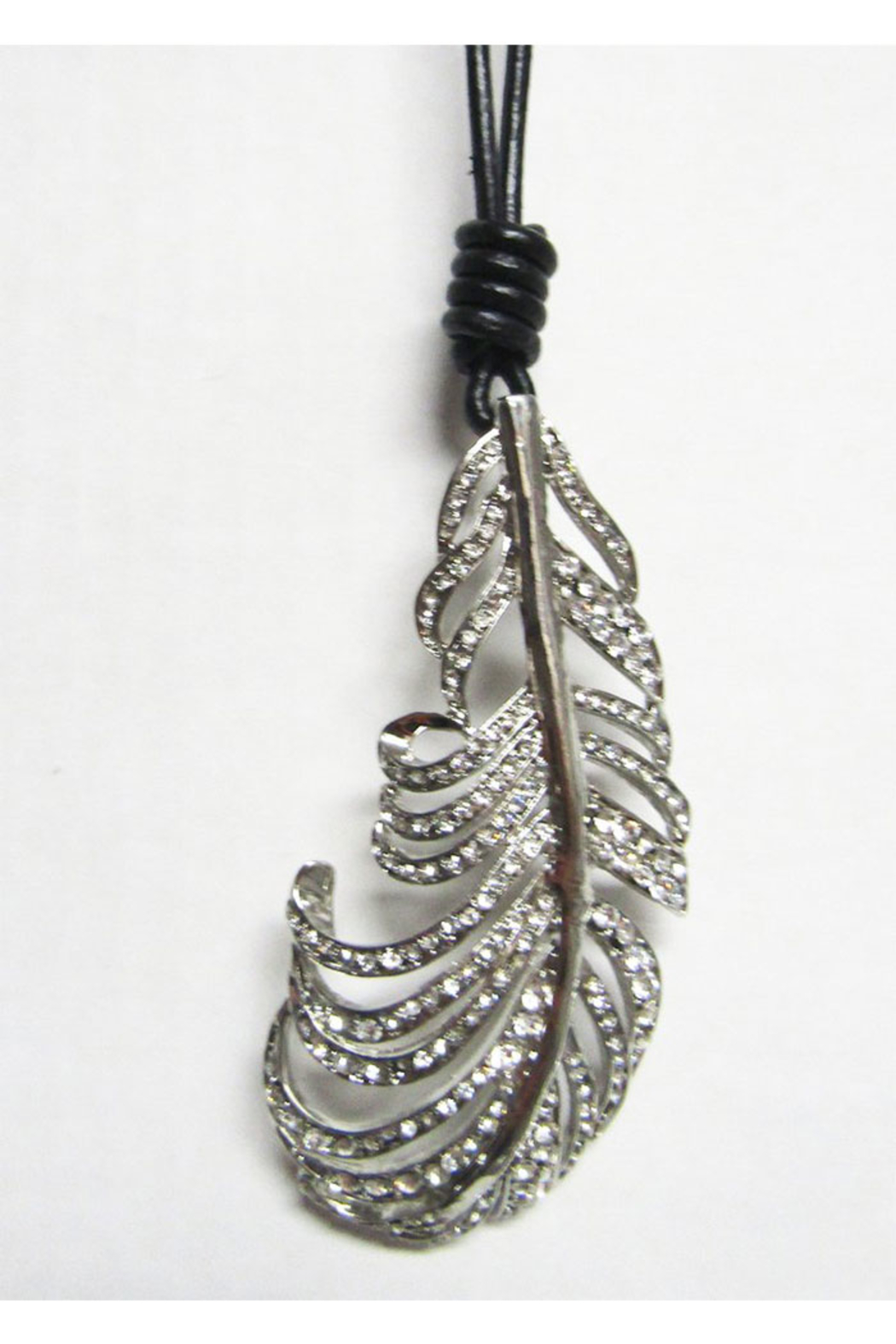 KIMBALS Long Black Cord With Silver Metal Pendant - Leaf - Main Image