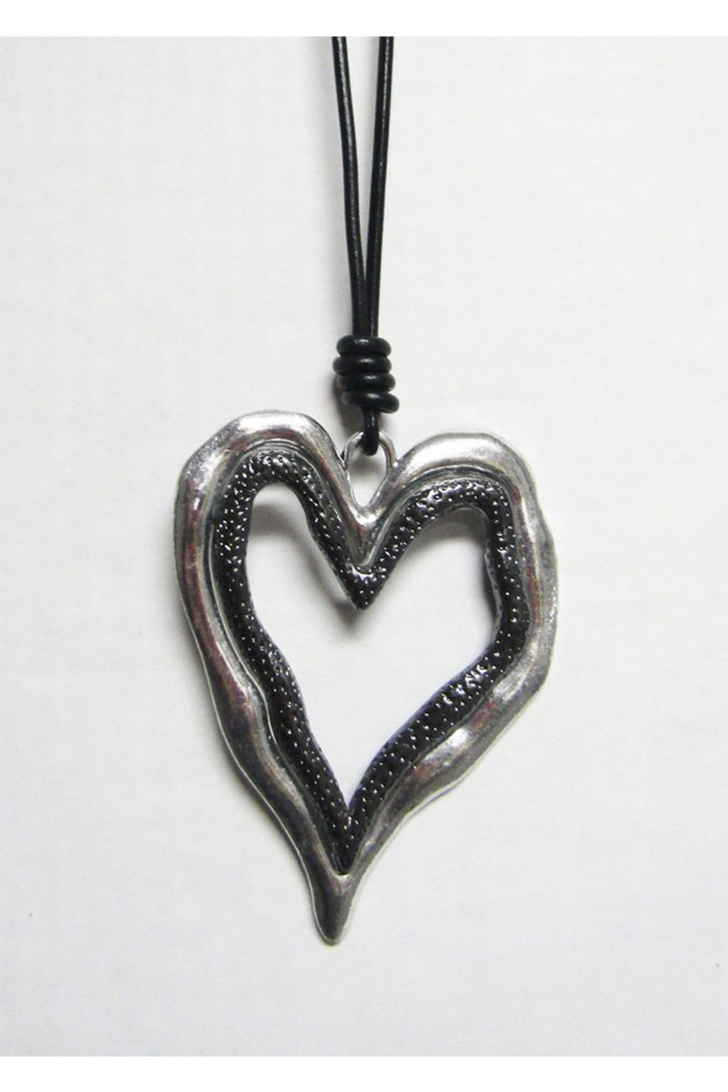 AUG Long Black Cord With Silver Metal Pendant - Open Heart - Main Image