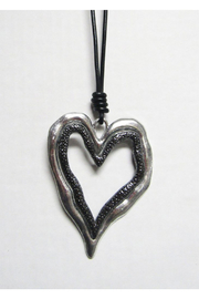 AUG Long Black Cord With Silver Metal Pendant - Open Heart - Front cropped