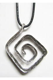 AUG Long Black Cord With Silver Metal Pendant -Swirl - Product Mini Image