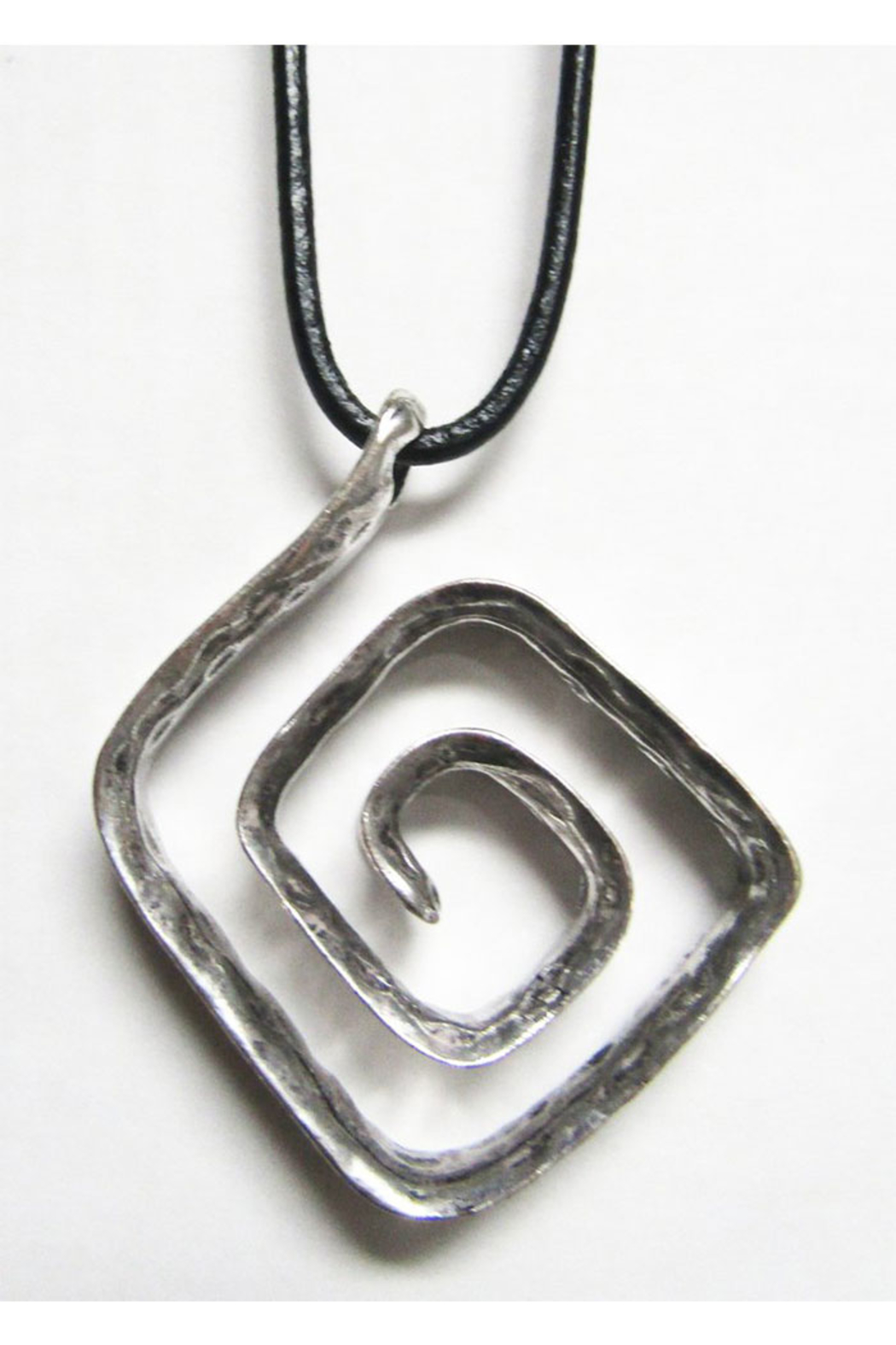 KIMBALS Long Black Cord With Silver Metal Pendant -Swirl - Main Image