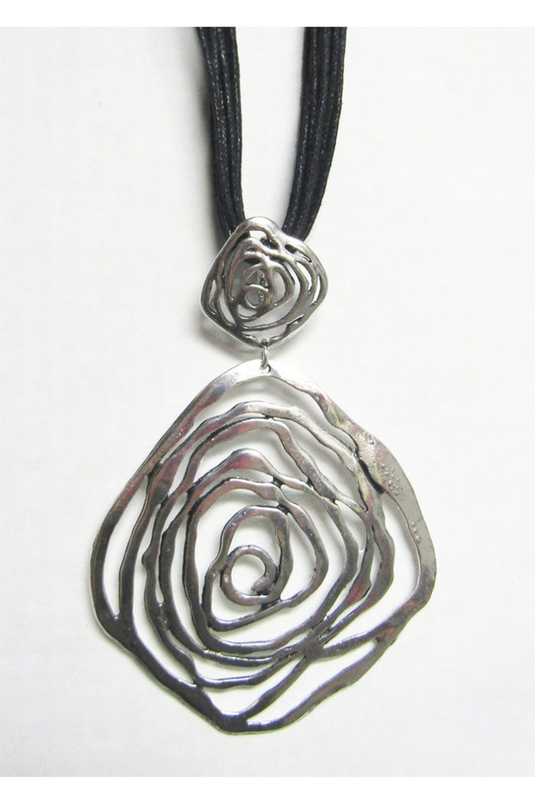 AUG Long Black Cord With Silver Metal Pendant - Swirls - Main Image