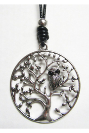KIMBALS Long Black Cord With Silver Metal Pendant - Tree Owl - Front cropped