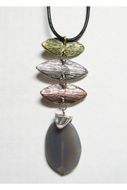 AUG Long Black Cord With Silver Metal Pendant - Tri Metal With Agate - Product Mini Image