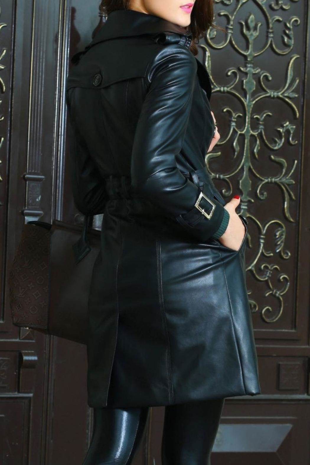 Adore Clothes & More Long Black Jacket - Back Cropped Image
