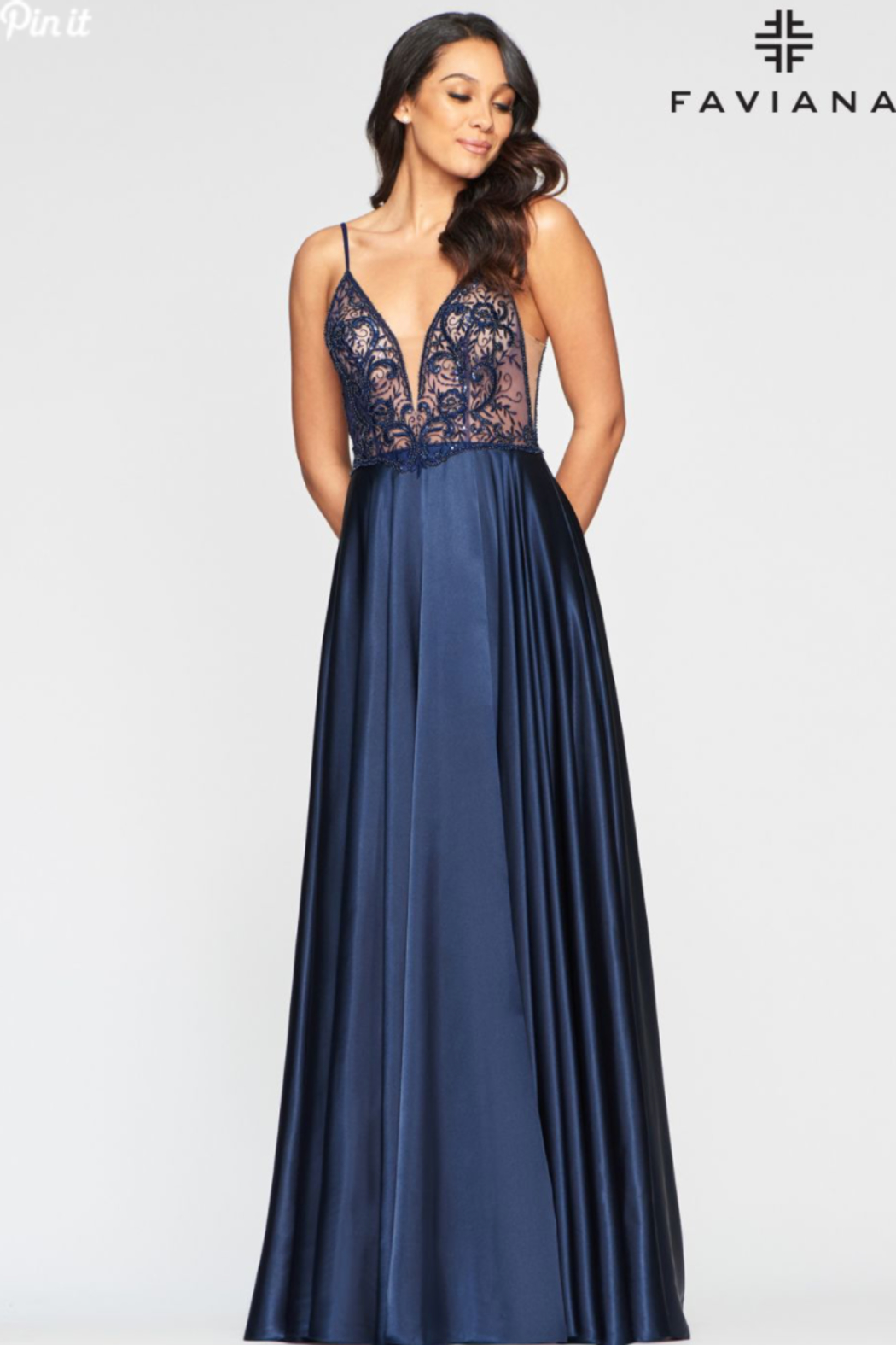 Faviana Long Charmeuse Gown - Front Cropped Image