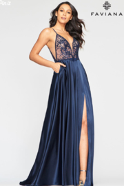 Faviana Long Charmeuse Gown - Side cropped