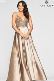 Faviana Long Charmeuse Gown - Front cropped