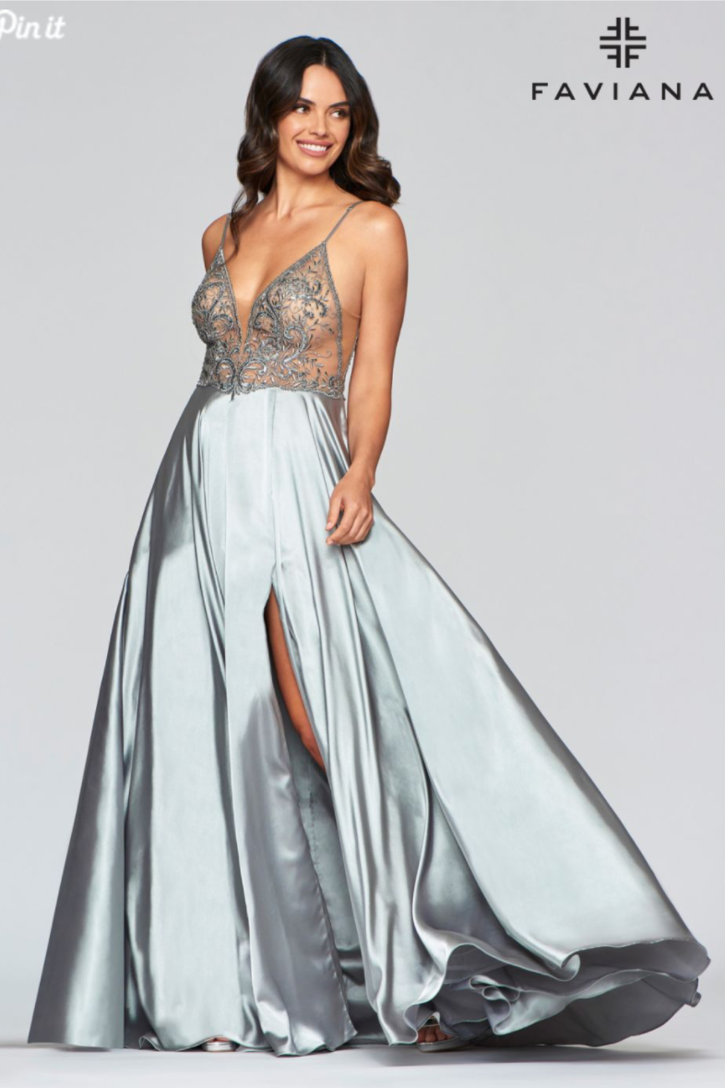 Faviana Long Charmeuse Gown - Side Cropped Image