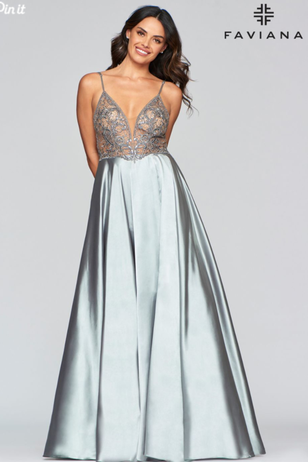 Faviana Long Charmeuse Gown - Main Image