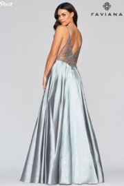 Faviana Long Charmeuse Gown - Front full body