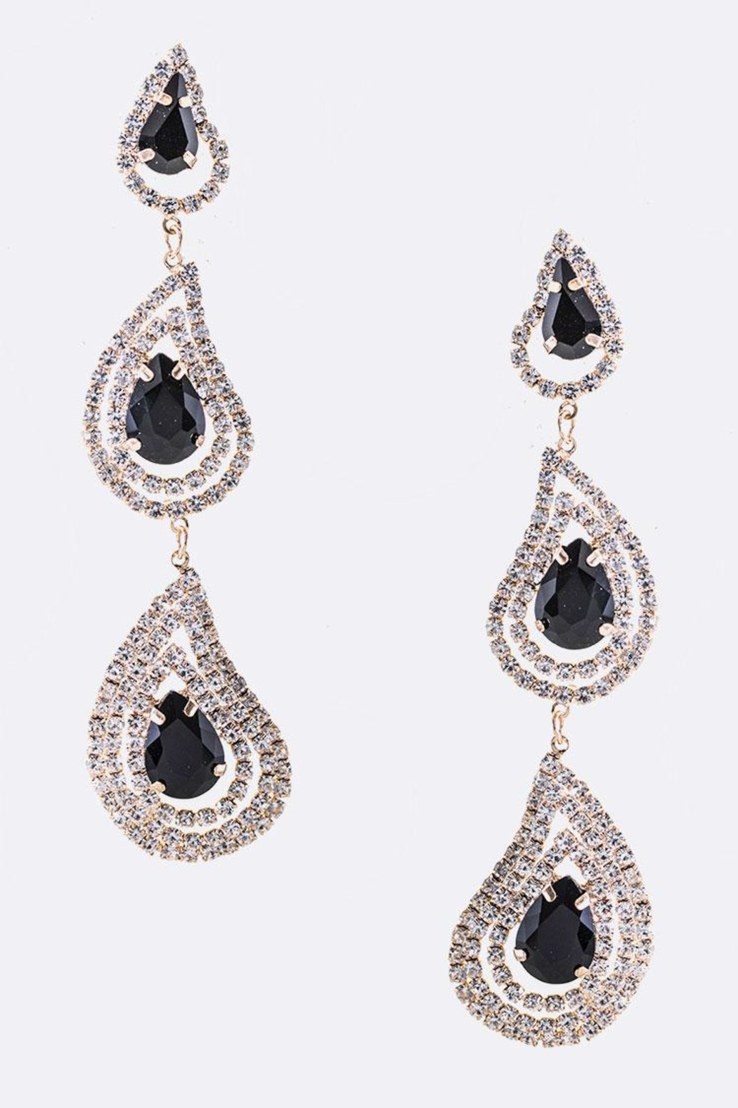 Nadya S Closet Long Crystal Drop Earrings Front Cropped Image