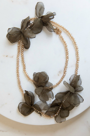 Rush Long Flower Crystal Beaded Necklace - Product Mini Image