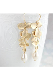 The Birds Nest Long Gold Orchid Earrings - ivory pearls - Product Mini Image