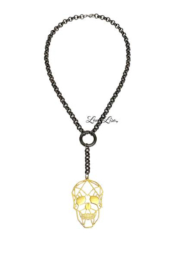 Love Lisa Long Gold Skull Necklace - Product List Image