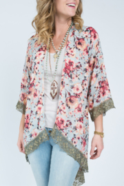 Ivy Jane Long Kimono with Metallic Lace - Product Mini Image