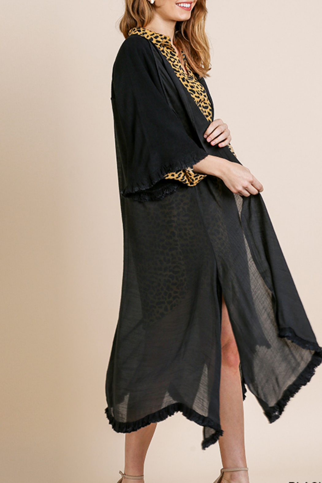 Umgee  Long Kimono with Side Slits - Side Cropped Image