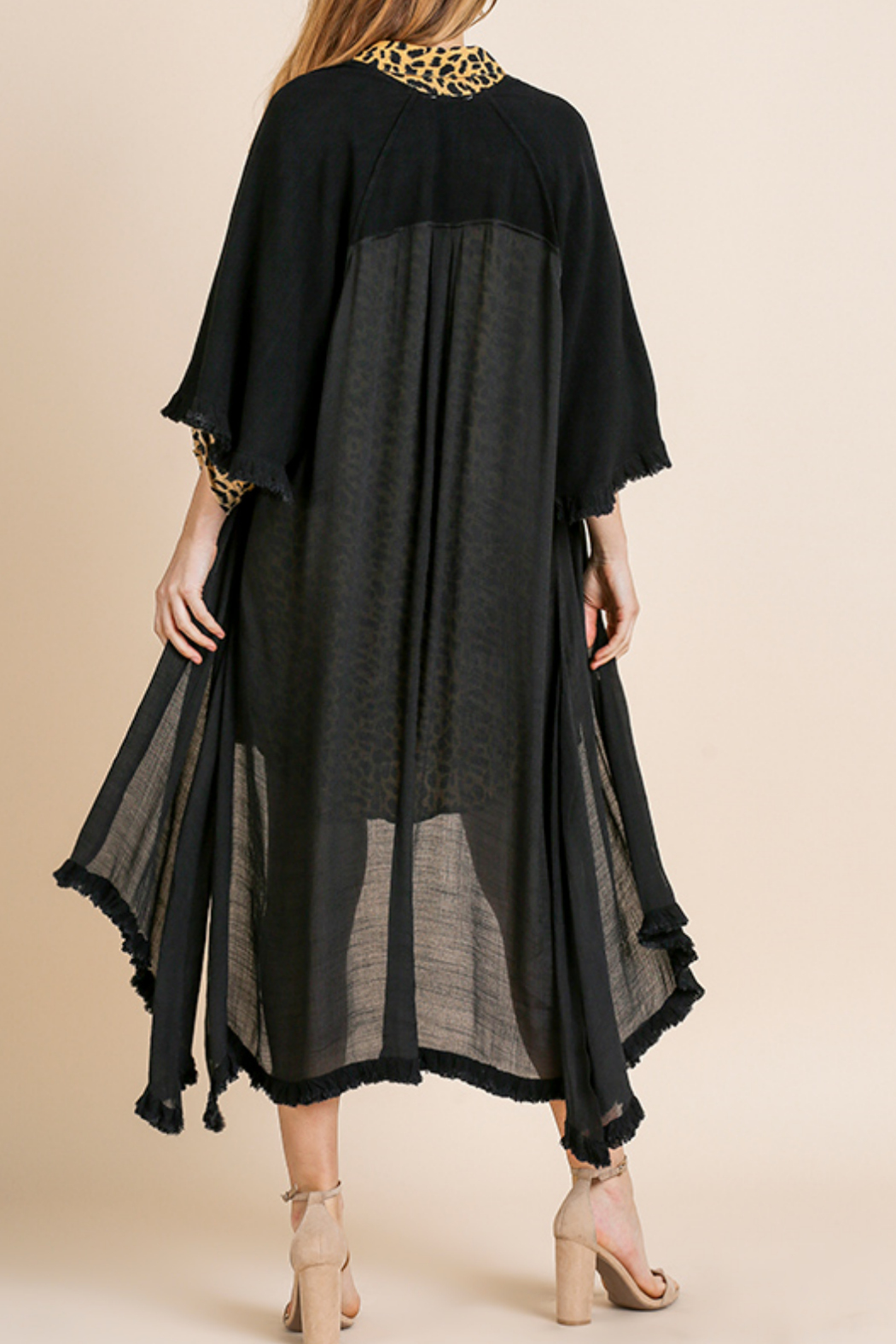 Umgee  Long Kimono with Side Slits - Back Cropped Image
