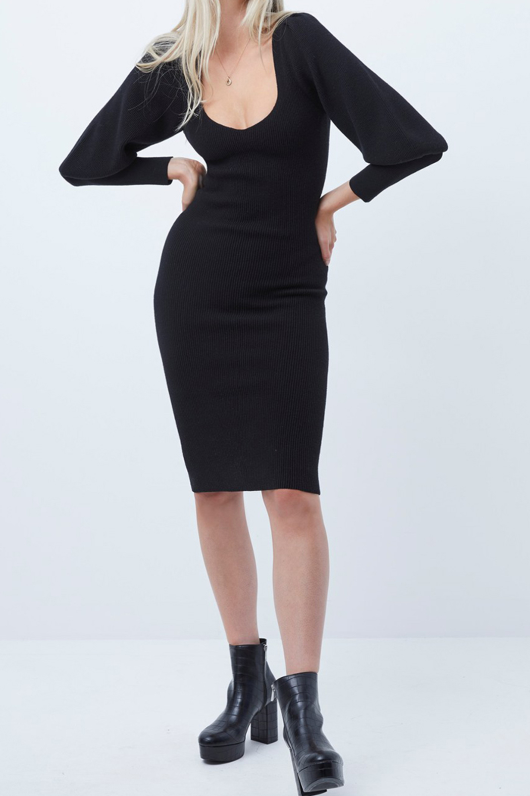 French Connection LONG KNIT BALLOON SLEEVE DRESS - Side Cropped Image