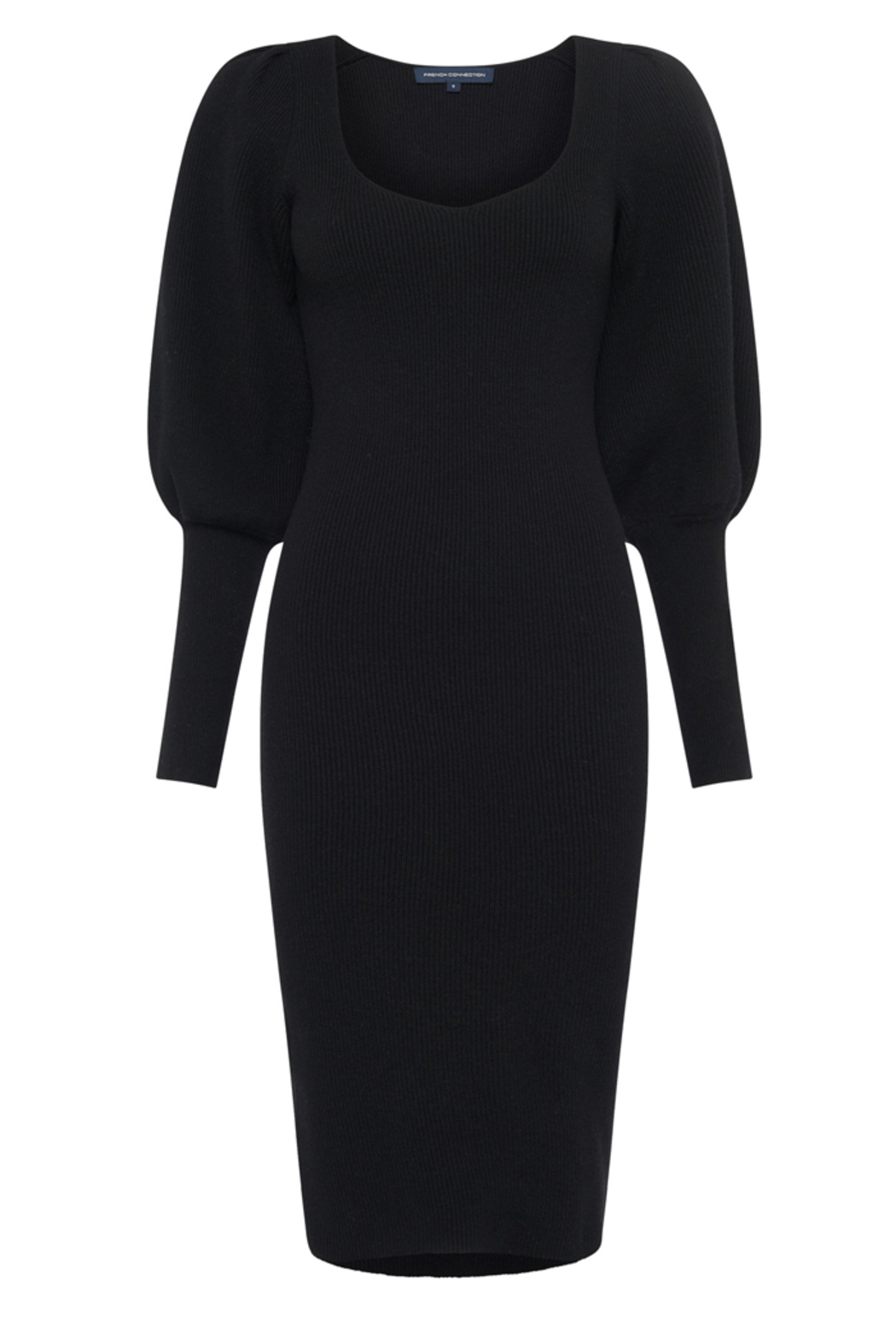 French Connection LONG KNIT BALLOON SLEEVE DRESS - Back Cropped Image