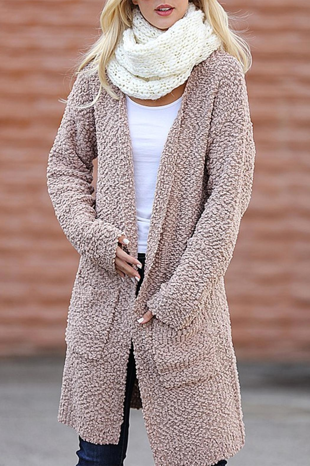 Wanna B Long Knitted Cardigan - Front Full Image