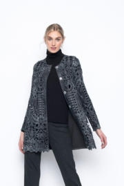 Picadilly Long Lace Jacket with Snap Closure - Front cropped