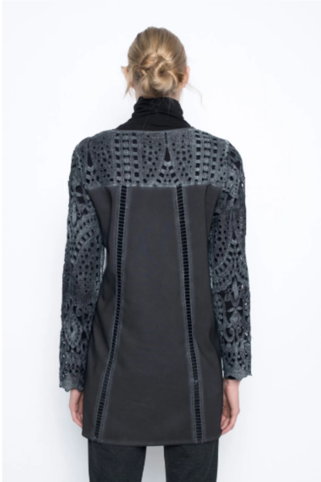 Picadilly Long Lace Jacket with Snap Closure - Front Full Image