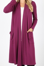 Zenana Outfitters Long Magenta Cardigan - Product Mini Image