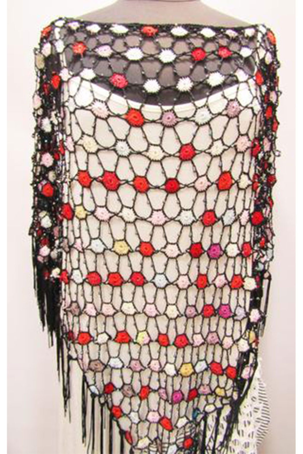 Kristen's Long Multi-Color Crochet Poncho With Iridescent Beads - Front Full Image
