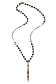 French Kande Long necklace with onyx and hematite mix and pointu pendant - Front cropped