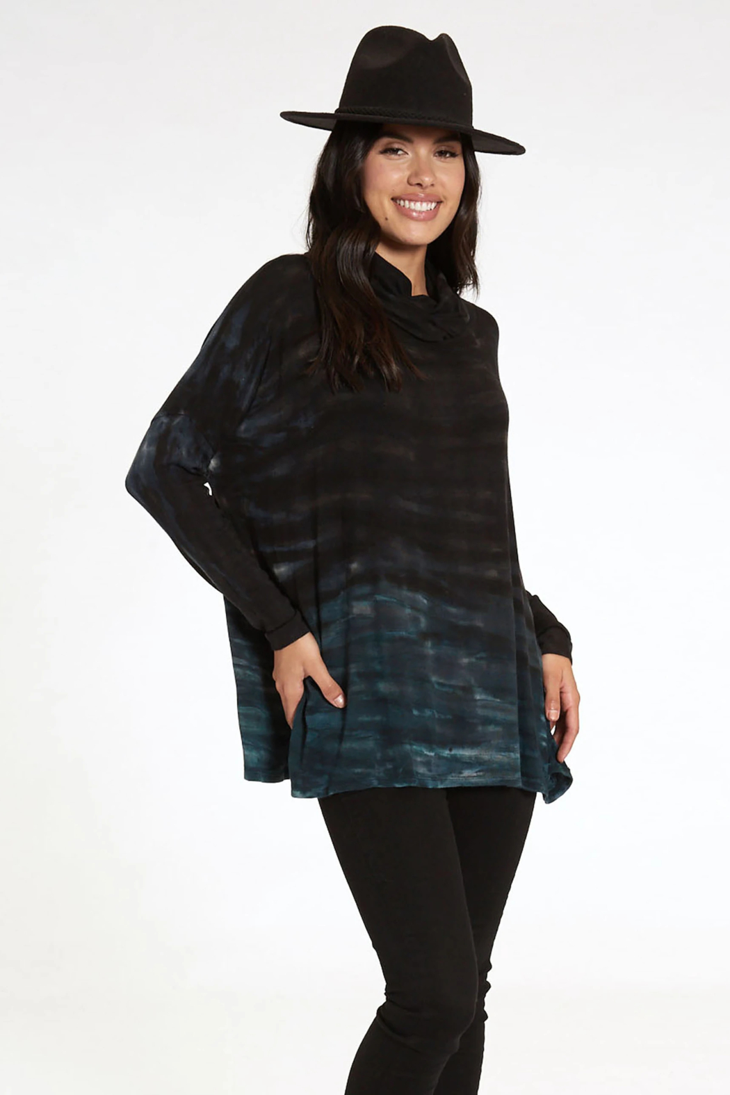 RIVER AND SKY Long Nights Oversized Ombre Poncho Sweater - Side Cropped Image