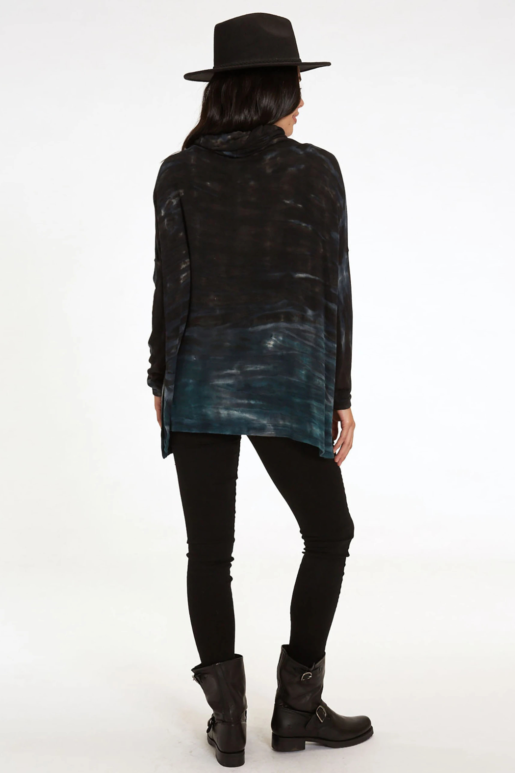 RIVER AND SKY Long Nights Oversized Ombre Poncho Sweater - Back Cropped Image
