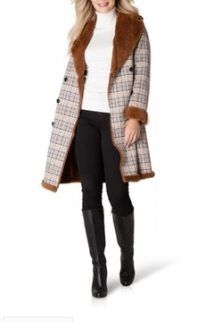 Yest  Long Plaid Coat with Faux Fur Lining - Product List Image