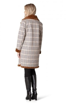 Yest  Long Plaid Coat with Faux Fur Lining - Alternate List Image