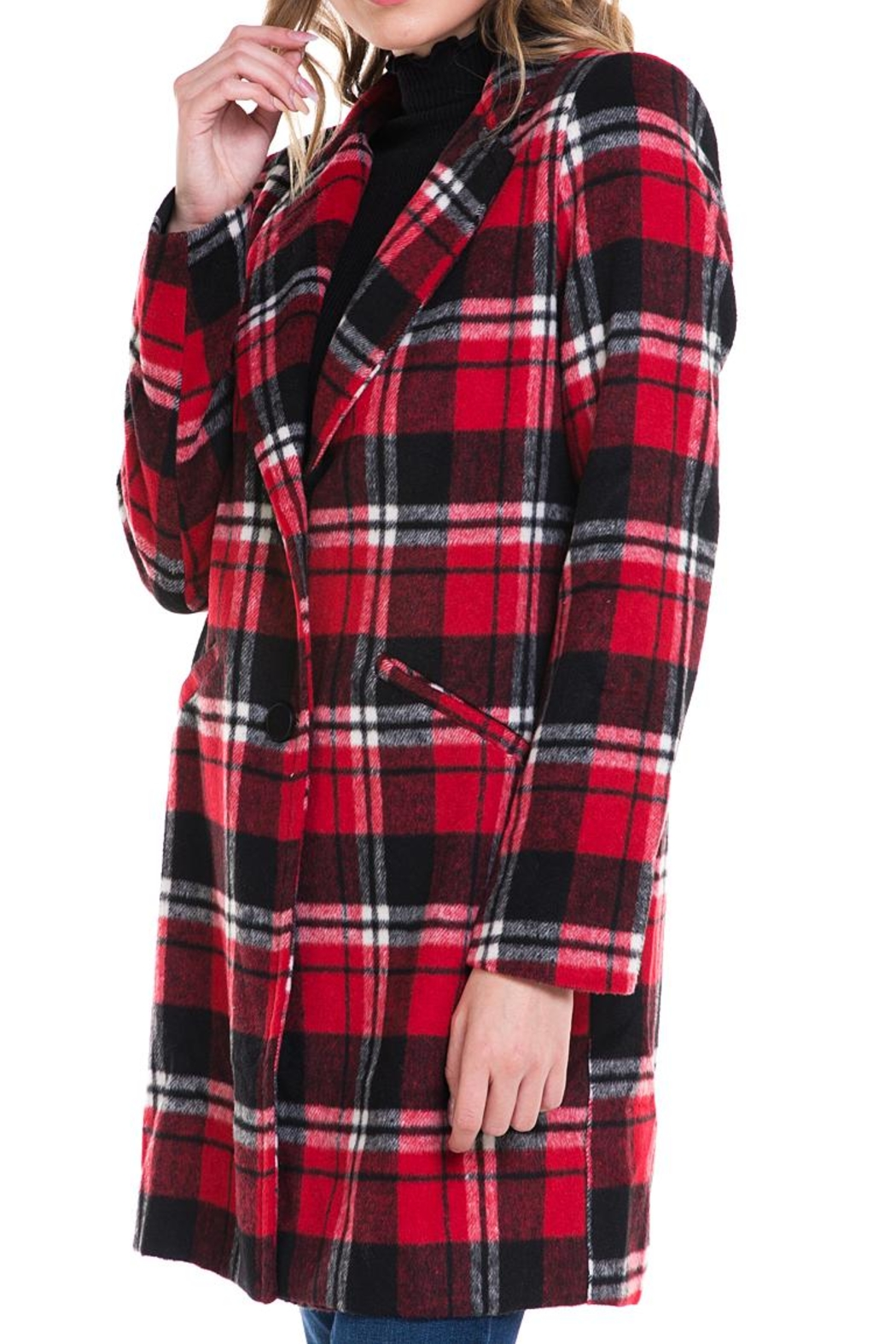 Sans Souci Long Plaid Jacket - Side Cropped Image