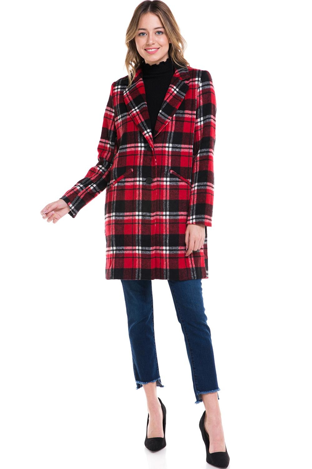 Sans Souci Long Plaid Jacket - Front Cropped Image