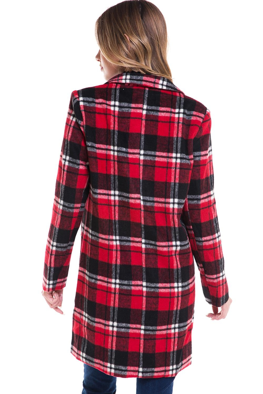 Sans Souci Long Plaid Jacket - Back Cropped Image