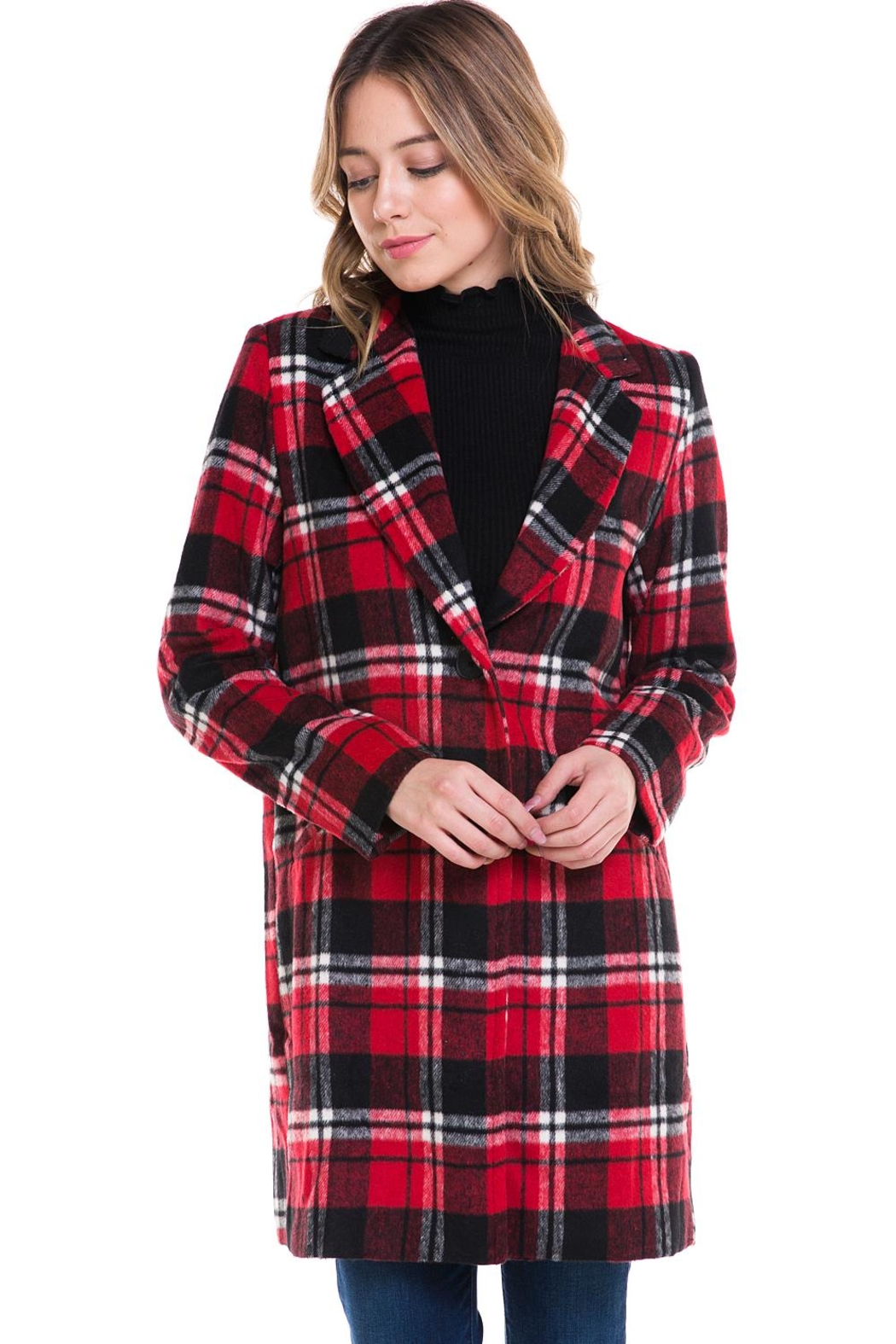 Sans Souci Long Plaid Jacket - Front Full Image