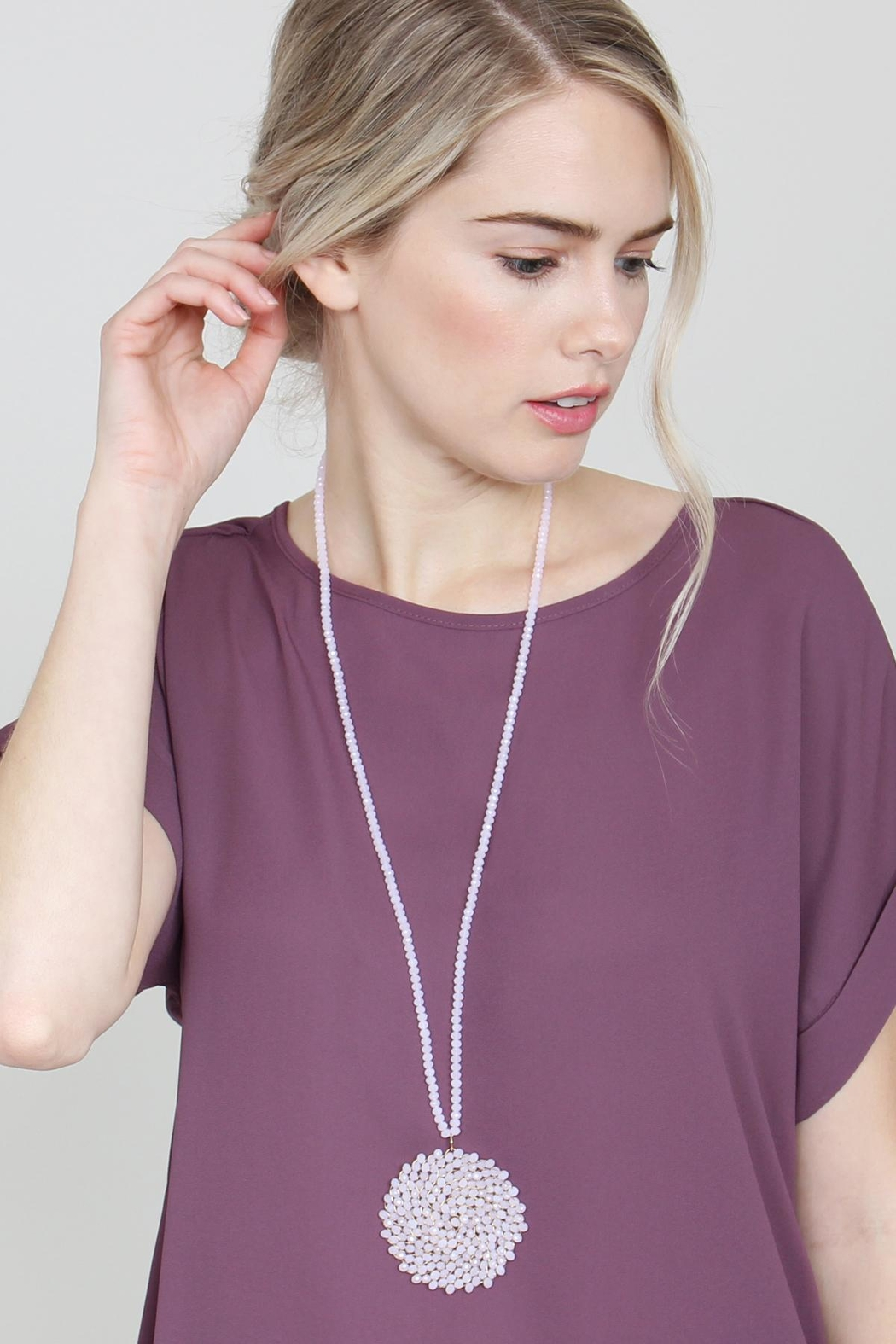 Riah Fashion Long Rondelle Necklace - Side Cropped Image