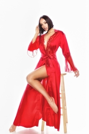 best underwear Long Satin Robes w/Lace - Product Mini Image
