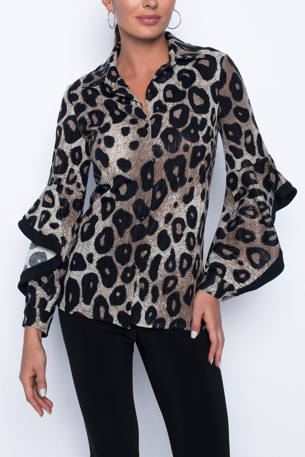 Frank Lyman Long Sleeve Animal Print Top - Main Image