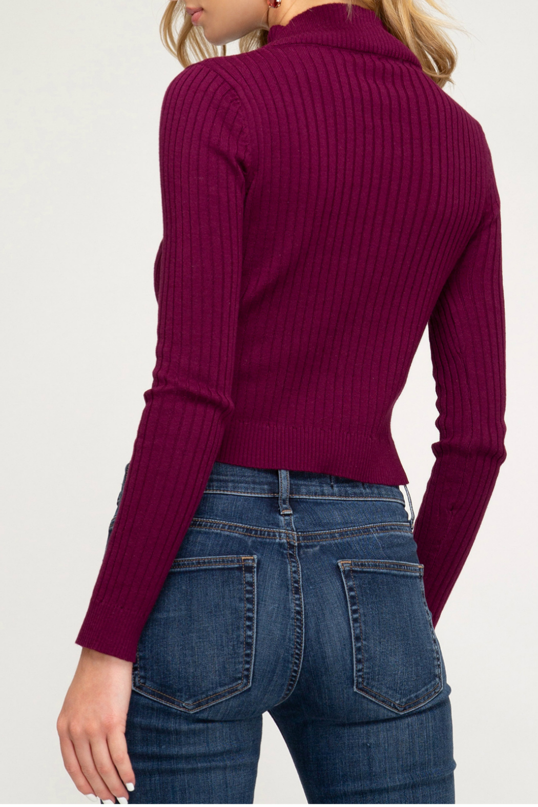 She+Sky LONG SLEEVE BASIC HIGH NECK RIBBED SWEATER CROP TOP - Front Full Image