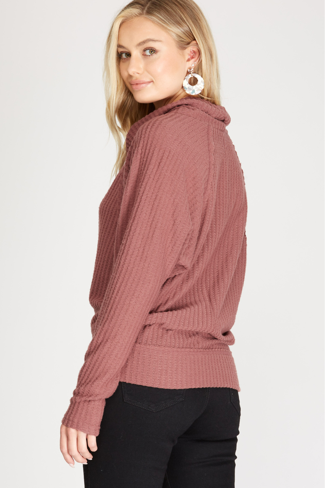 She and Sky LONG SLEEVE BRUSHED THERMAL KNIT TOP - Main Image