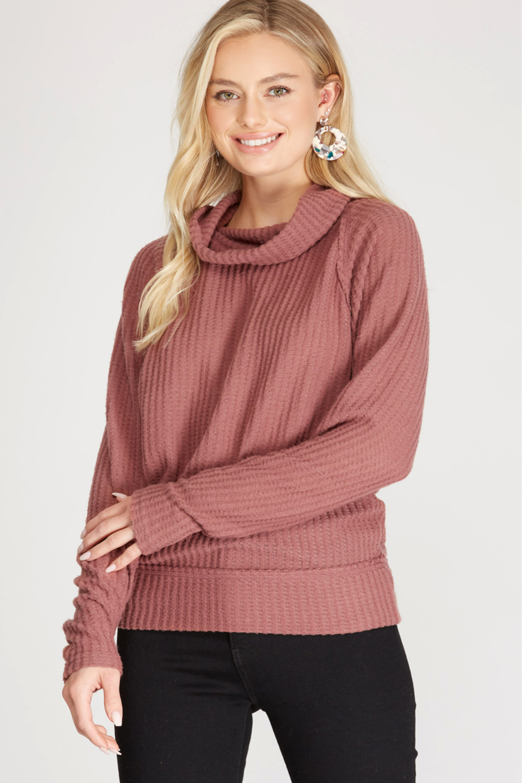She and Sky LONG SLEEVE BRUSHED THERMAL KNIT TOP - Front Cropped Image