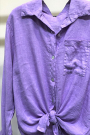 Venti6 Long Sleeve Button Down Linen Top - Product Mini Image