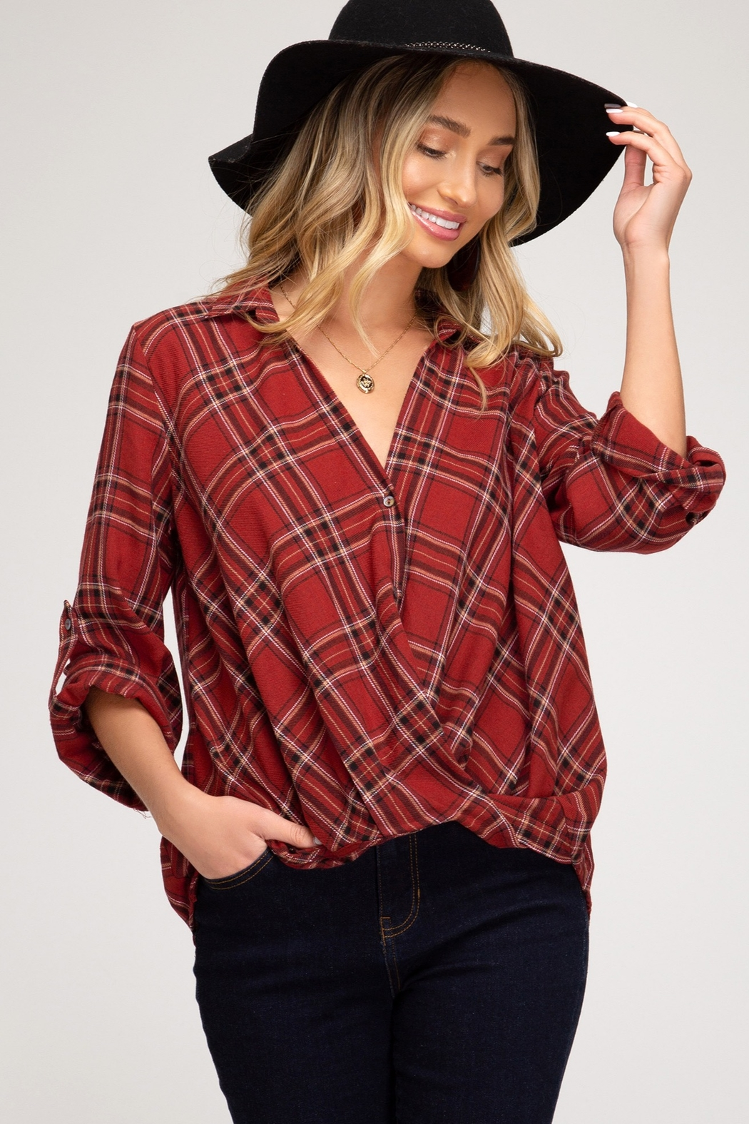 She + Sky Long Sleeve Button Down Shirt With Front Twist Detail - Main Image