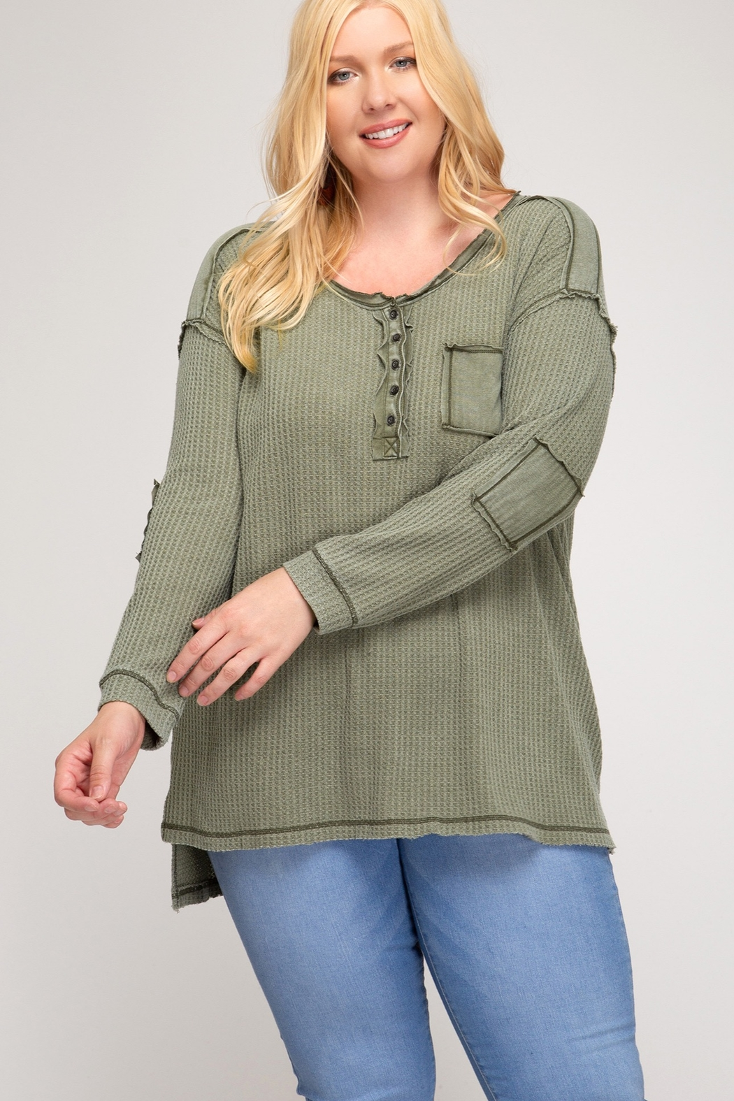 She + Sky Long Sleeve Button Down Thermal Top - Main Image